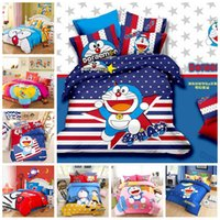 Wholesale King Comforter Sets For Cheap - 2016 Cheap 100% Cotton Doraemon Bedding Sets Kids Cartoon Twin Queen King Size Bedclothes Duvet Quilt Cover Sheet For Children Bed Spreads