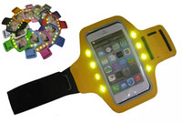 Wholesale s3 grey - Black UniversalRunning Armband LED Gym Jogging Phone Case 4.5 - LED lights S3 S4 S5 iphone 6 6s 6s plus