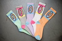 Wholesale Socks Bacterial - Odd future OFWGKTA Golf Wang Black Donut Crew Socks Thicker Double Layer Bottom Sweat-absorbent Anti-Bacterial Terry Socks 6color for Choose