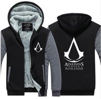 Neue Assassins Creed hoodies dunkler hoodies männer mit kapuze Warme winter Verdickung assassins creed hoodie dick Hoodie reißverschluss Jacke Mantel Tuch