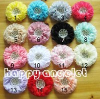 """Wholesale Diamante Hair Bow - 30 pcs hair accessories kids,baby 3.5"""" Pearl diamante lace applique Chiffon bows Flowers sewing accessorie without clip HT2103"""