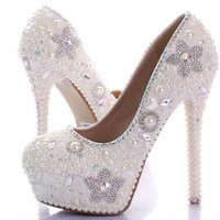 Wholesale Ivory Bling Heels - Gorgeous Ivory Wedding Dress Shoes Bling Star Crystal Banquet Party Prom Shoes Women 10cm High Heel Rhinestone Bridal Shoes