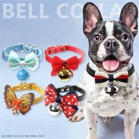 Senior Pet Dog Bell Collar de Alta Calidad Patrón Múltiple Gato Campana Estilo Casual Pet Bell Multicolor Animal Corbata Pajarita Campanas al por mayor LDH54