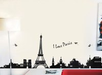 Wholesale Eiffel Tower Backgrounds - 110 cm * 38 cm PVC Eiffel Tower Wall hangings Living room bedroom background decoration Wall Stickers TC954