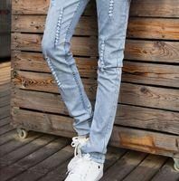 Wholesale Gray Pants Fashion - 2015 new arrival Men's Clothing Fashion slim men's Jeans Casual feet pencil pants light gray