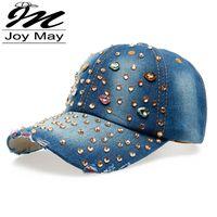 Wholesale Wholesale Jean Prices - Wholesale-Factory Price Wholesale Retail JoyMay Hat Hat Cap Fashion Leisure Rhinestones Bling Women Cap Vintage Jean Men Hat Cap B074