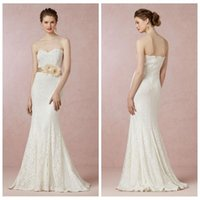 Wholesale Exclusive Bridal Dresses - Vintage Sheath Wedding Dress Lace Sweetheart Strapless Bridal Dress 2014 Zipper Back Column Wedding Gown Styles Lace Size 16 Bhldn Exclusive