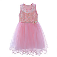 Wholesale tutu flower girl dresses online - Pettigirl Newest Girls Flower Lace Sleeveless Dresses Fashion Kids Solid Tank Wear Retail Baby Clothes MBGD90225
