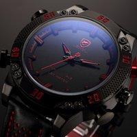 Wholesale Shark Military Sports Watch - Kitefin Shark Luxury Brand Sport Watches Men Relogio Masculino Dual Time Alarm Leather Strap Wristwatch Mens Military Digital Watch   SH261
