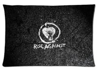 Wholesale Pink Roses Pillow Cases - Custom Zippered Pillowcase rise against rock music guys Pillow Cover Case 20X30 Inch Twin Sides almofadas Printing