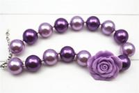 Wholesale bubble bead necklaces - New wholesale purple chunky bubble gum little girl's necklace acrylic&beads CB022