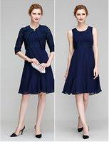 Wholesale Custom Lan - 2016 Lan Ting A-line Mother of the Bride Dress - Dark Navy Knee-length Half Sleeve Chiffon   Lace