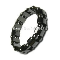 Wholesale Magnet Health Bracelets - Wholesale-10pcs Tourmaline Health Bangles Massage Bracelet Magnet Therapy Bracele Unisex Black