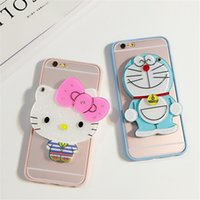 Wholesale Doraemon Case Cover Iphone - Cute 3D Cartoon Hello Kit Yellow Duck Doraemon Back Cover Case With Mirror For iphone 5 6 6plus DHL Free Shipping New Style