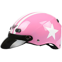 """Wholesale Helm Scooter - Wholesale-D.46 HOT Taiwan """" HUA TAI """" ABS Racing Helm Half Face Casco Scooter Motocycle Bright Pink # White Star Helmet & UV"""