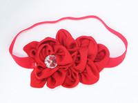 saç elmas şeritler toptan satış-Bebek Çocuk Headbands Şifon elmas Balık terazi çiçek saç bandı Bebek Elastik Bandı Noel hediyesi 9 renk