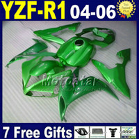 Wholesale fitting mould - Fit for Yamaha r1 2004 2005 2006 fairing kit green Injection mould road motorcycle YZFR1 2004 2005 2006 yzf r1 fairings V9W6 bodykits