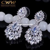 Wholesale big crystal earrings for bridal - CWWZircons Elegant Chandelier AAA+ Cubic Zirconia Long Big Crystal Bridal Dangle Drop Earring For Wedding Jewelry CZ202