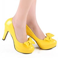 Wholesale Bow Orange Heels - New Popular Yellow With Bow Tie Leather Shoes Fashion Leisure Lady Business Prom Shoes Breathable Shoes DY:569