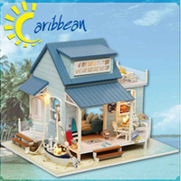 Wholesale Cabin Doll House - Handmade Dolls House Furniture Miniatura Wooden Toys for Children Birthday Gifts,Caribbean Sea Cabin Diy Miniature Dollhouse