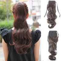 Wholesale Long Auburn Ponytail Extension - 20'' Women's Long Curly Wavy Ribbon Ponytail Hairpiece,Fashion Drawstring Ponytail Clip in Hair Extensions,Natural Wave Synthetic Ponytails