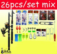 Wholesale Stoppers Rainbow - 26 piece set 2.1m lightweight steel fishing pole Pen rods fish Reels Stoppers Rainbow float Fishhooks Combination Accessories