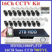 Sistema de Câmara de 700TVL 16CH DVR CCTV Segurança Camera + 2 TB de HDD Outdoor Dia Noite IR CCTV Kit Color Video Surveillance System