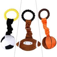 Wholesale Dog Plush Cotton Rope - Hot Sport Pet Plush Cotton Braided Rope Ball Dog Playing Squeaker Toy