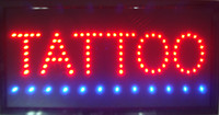 Wholesale Tattoo Signs Led - 2016 LED Tattoo Sign Bright Flashing Window Hanging Display Neon Light Shop 48x25cm Indoor only Free Shipping