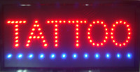 Wholesale tattoo neon signs for sale - Group buy LED Tattoo Sign Bright Flashing Window Hanging Display Neon Light Shop x25cm Indoor only