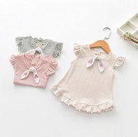 Kinder Kleinkind Baby Mädchen Prinzessin Party Striped Bowknot Tops Shirt Sommer Kleid Casual Dress