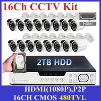 Sistema de Segurança CCTV 16CH 480TVL Waterproof IR Outdoor Camera Recorder DVR Rede CCTV Sistema de Vídeo Camera 16CH DVR Kit + 2 TB de HDD