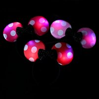 Wholesale Headband Party Favors - MINNIE MICKEY MOUSE EARS LED LIGHT UP FLASHING BOW HEADBANDS PARTY FAVORS Party Decoration Supplies Gift