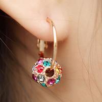 Wholesale Ear Loops Wholesale - Wholesale- Circle Loop Earring Fashion Big Round Rhinestone Crystal Ear Hoop Earrings Large arbobs Eardrop Women Jewelry Pendientes