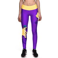 Wholesale Dog Girls Pants - 2017 New 0008 Fashion Purple Unicycle Dog Prints Sexy Girl Pencil Yoga Pants GYM Fitness Workout High Waist Women Leggings