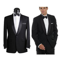 Wholesale Cotton Pants Men Back - Customized 2016 Top Selling Black Mens Suits Fashion Handsome Wedding Suits For Men Bridegroom (Jacket+Pants+Bow)