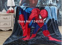 spiderman flannel sheets - Retail Baby Boys Cartoon Spiderman Flannel Blanket Kid s Autumn Winter Bedroom Throw Blanket Fleece Bed Sheet