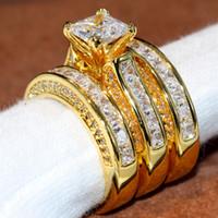 gelber topas goldring großhandel-Victoria Wieck Funkelnde Modeschmuck Prinzessin Ring 14KT Gelbes Gold Füllte 3 IN 1 Weiß Topaz Party CZ Diamant Frauen Hochzeit Braut Ring