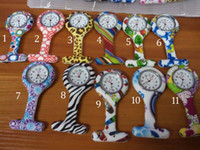 Wholesale Nurse Doctor Styles Watches - New Colorful Prints Silicone Nurse Pocket Watch Doctor Fob Quartz Watch Kids Gift Watches 11 Styles B001