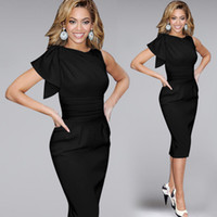 Wholesale Dresses Stretch Women - 2015 plus size dresses women summer dresses casual dresses Elegant flounced sleeves ruched party prom stretch tight-fitting pencil dressSXXL