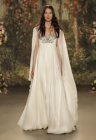 Wholesale Long Sleeve Silk Wedding Gowns - cape shawl sleeves wedding dresses 2017 jenny packham bridal gowns sheer neckline with beaded wedding gowns