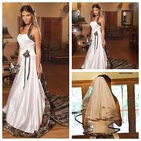 Wholesale Ladies Designer Black Lace Dress - 2015 New Designers Halter A-Line Camo Wedding Dresses Chapel Long Formal Natural Slim Bridal Gowns For Ladies Wedding Handmade Flower Adorn