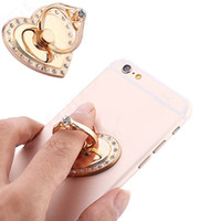 Wholesale Heart Shaped Hook - Luxury Rotatable Love Heart Shape Crystal Metal Ring Holder Hook Finger Grip Stand Mount Universal For All Mobile Phone Tablet christmas gif