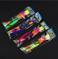 Wholesale Led Light Parachute Helicopter - LED flying arrows helicopter umbrella light parachute kids toys LED helicopter Toy Mix color Christmas gift