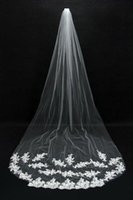 Wholesale Soft Lace Long Veils - Bridal Veils Cheap Long Veils 2015 Soft Tulle Three Meters Long Veils with Lace on the Edge Cathedral Veils CPA067