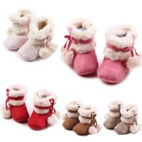 Baby Girls Winter Warm Snow Boots Bow Christmas Princesa Lace-Up First Walker Kids Sapatos de bola dupla