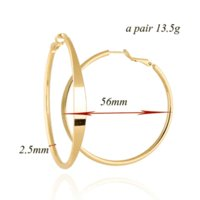 Wholesale Extra Large Hoops - New Fashion Free Shipping Elegant Vogue Gold Plated Extra Large Back Hoop 18K Gold Filled Earrings 56mm Diameter