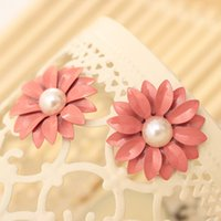 Wholesale-Elegant Girls Classic Trendy Pink Chrysanthemum Flower Pearl Stud Earrings pour bijoux féminins