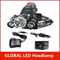 Wholesale Rechargeable Dive Torch - 5000LM 3 xCREE XML T6 LED Rechargeable Headlight Headlamp 18650 Head Torch Lamp+2XCharger