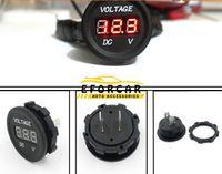 Wholesale 24v Digital Panel Meter - Auto Mtrocycle Gauge Volt Meters DC 12V-24V Motorcycle LED Digital Display Voltmeter Voltage Meter Round Panel